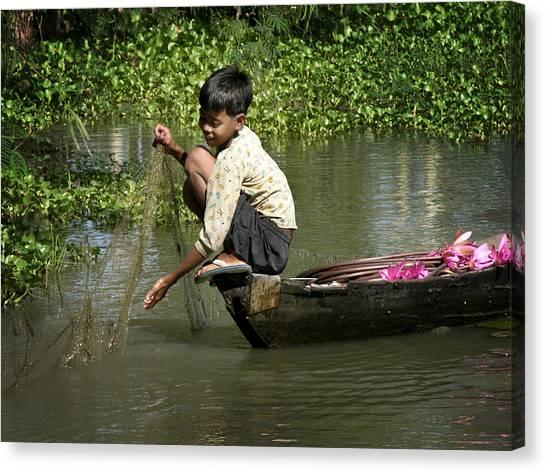 Net Fishing In Cambodia Canvas Print