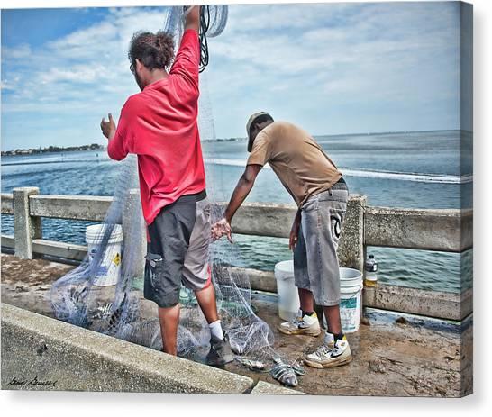 Net Fishing On Cortez Bridge  Canvas Print