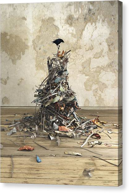 Magpies Canvas Print - Net Worth by Cynthia Decker
