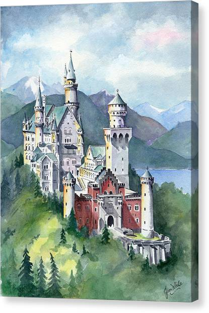 Fantasy Canvas Print - Neuschwanstein by Jean Walker White