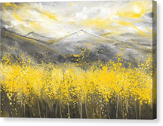 Neutral Sun - Yellow And Gray Art Canvas Print
