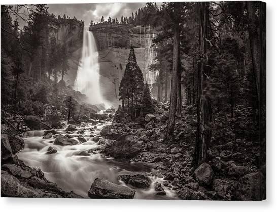 Ansel Adams Canvas Print - Nevada Fall Monochrome by Scott McGuire