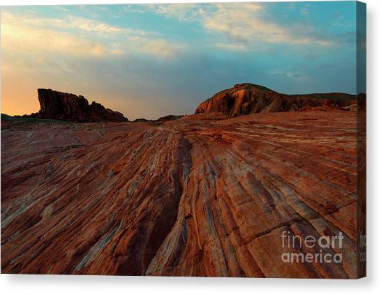 Valley Of Fire Canvas Print - Nevada Sandstone Sunset by Mike Dawson