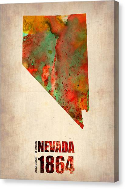 Nevada Canvas Print - Nevada Watercolor Map by Naxart Studio
