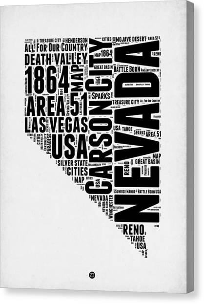 Nevada Canvas Print - Nevada Word Cloud 3 by Naxart Studio