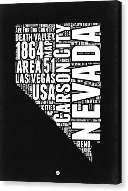 Nevada Canvas Print - Nevada Word Cloud Black And White Map by Naxart Studio