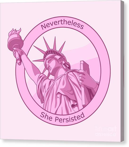 Mitch Mcconnell Canvas Print - Nevertheless She Persisted Feminism Pink Lady Liberty by Crista Forest