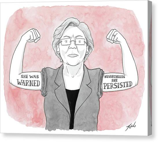 Elizabeth Warren Canvas Print - Nevertheless She Persisted by Tom Toro