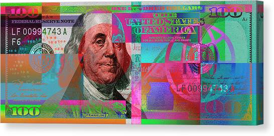 New 2009 Series Pop Art Colorized Us One Hundred Dollar Bill  No. 3 Canvas Print