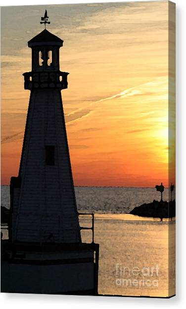 New Buffalo Lighthouse At Sunset Canvas Print by Christopher Purcell