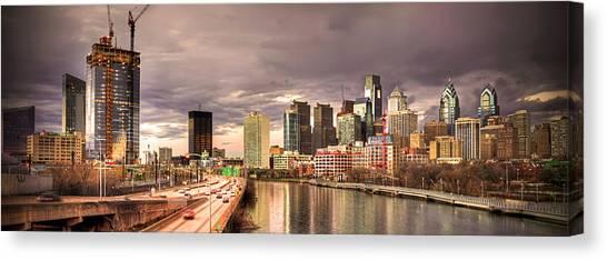 Temple University Canvas Print - Philadelphia Skyline At Daybreak by Kristopher Henry Scott
