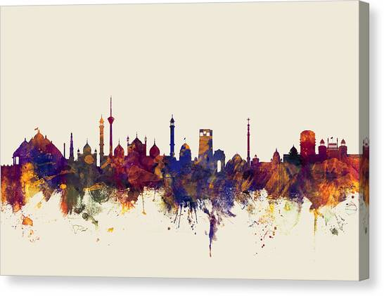 Watercolour Canvas Print - New Delhi India Skyline by Michael Tompsett