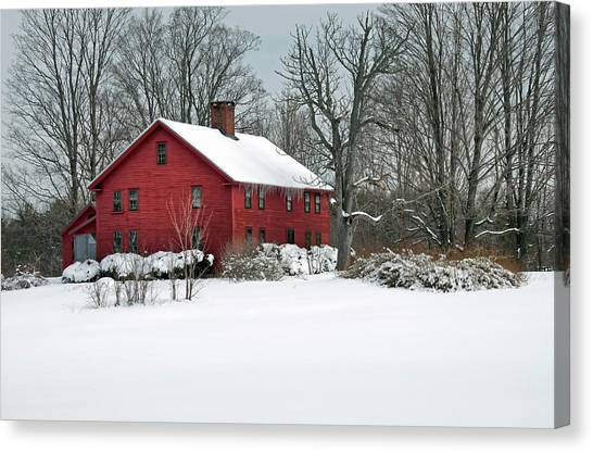 New England Colonial Home In Winter Canvas Print