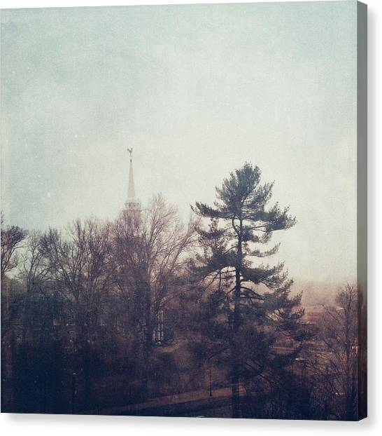 University Of Connecticut Canvas Print - New England Fog by Elina Griggs