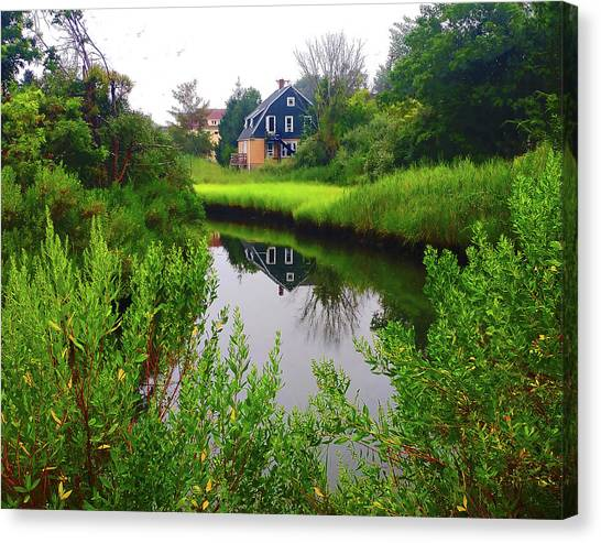 New England House And Stream Canvas Print