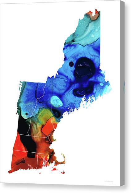 New Hampshire Canvas Print - New England - Map By Sharon Cummings by Sharon Cummings