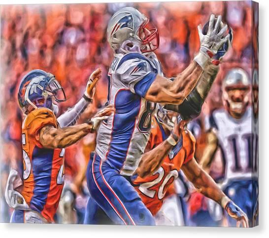New England Patriots Canvas Print - New England Patriots Oil Art 1 by Joe Hamilton