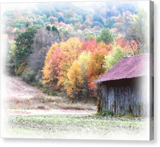 New England Tobacco Barn In Watercolor Canvas Print