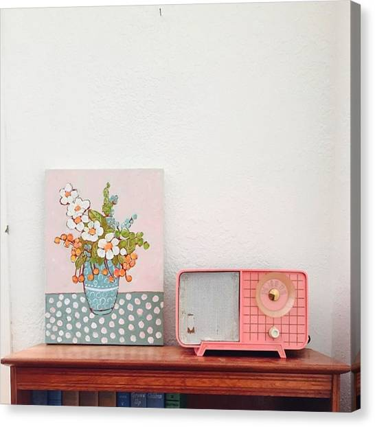 Vintage Canvas Print - New Flower Paintings Will Be Added To by Blenda Studio