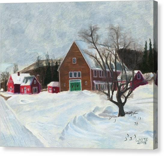 New Hampshire Farm In Winter Canvas Print