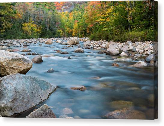 New Hampshire Swift River And Fall Foliage In Autumn Canvas Print