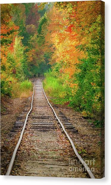 New Hampshire Train Tracks To Foliage Canvas Print
