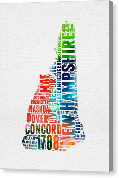 New Hampshire Canvas Print - New Hampshire Watercolor Word Map by Naxart Studio