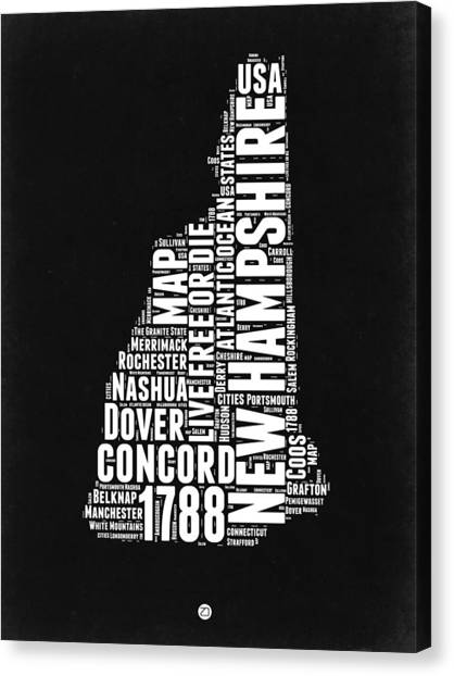 New Hampshire Canvas Print - New Hampshire Word Cloud Black And White Map by Naxart Studio
