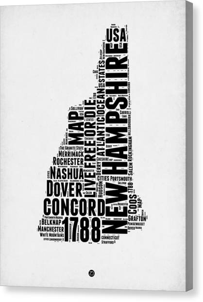 New Hampshire Canvas Print - New Hampshire Word Cloud Map 2 by Naxart Studio