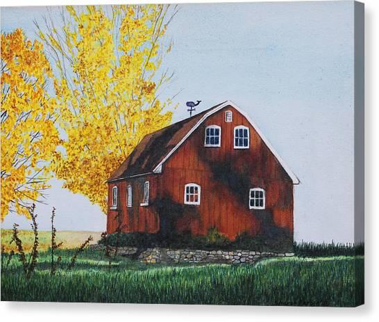 New Hartford Barn Canvas Print by Sharon Farber