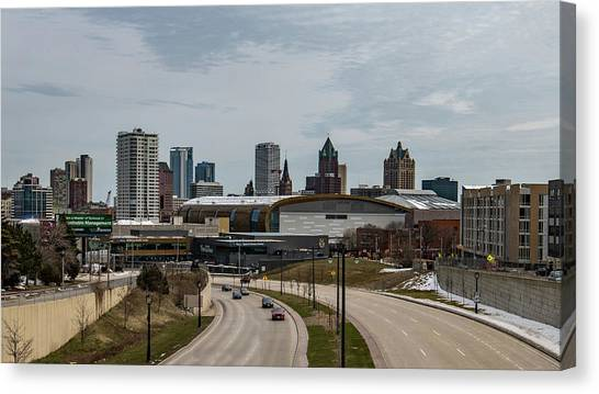 Milwaukee Bucks Canvas Print - New Home Of The Milwaukee Bucks by Randy Scherkenbach