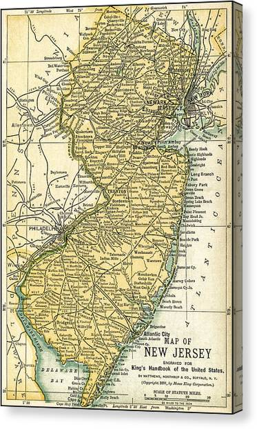 New Jersey Antique Map 1891 Canvas Print