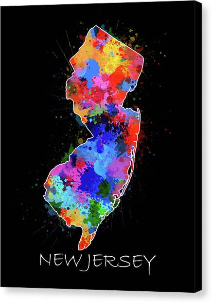New Jersey Devils Canvas Print - New Jersey Map Color Splatter 2 by Bekim Art