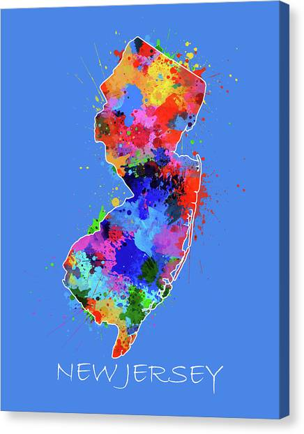 New Jersey Devils Canvas Print - New Jersey Map Color Splatter 3 by Bekim Art