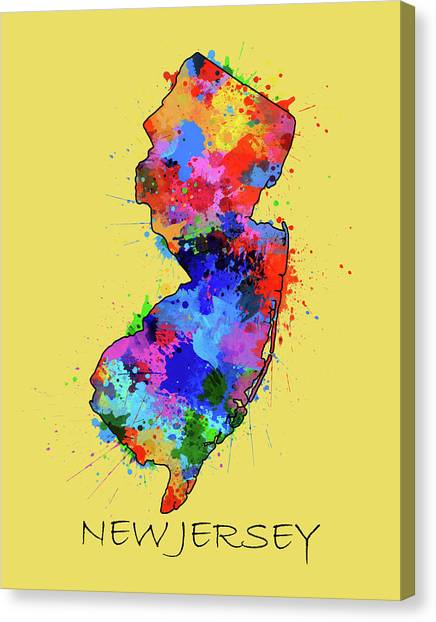 New Jersey Devils Canvas Print - New Jersey Map Color Splatter 4 by Bekim Art