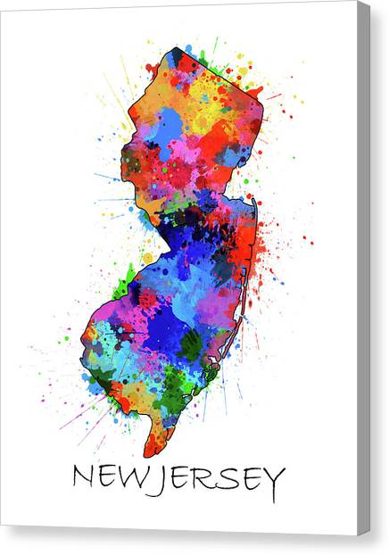 New Jersey Devils Canvas Print - New Jersey Map Color Splatter by Bekim Art
