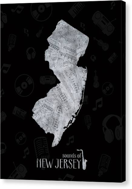 New Jersey Devils Canvas Print - New Jersey Map Music Notes 2 by Bekim Art