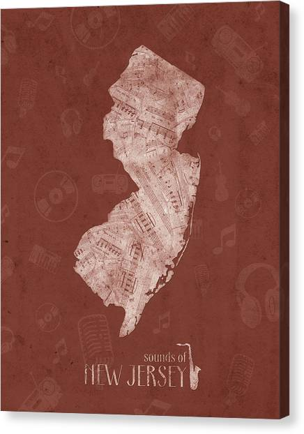 New Jersey Devils Canvas Print - New Jersey Map Music Notes 4 by Bekim Art