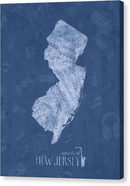 New Jersey Devils Canvas Print - New Jersey Map Music Notes 5 by Bekim Art