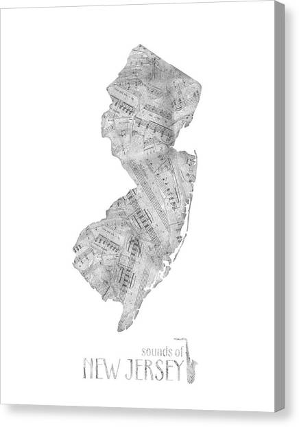 New Jersey Devils Canvas Print - New Jersey Map Music Notes  by Bekim Art