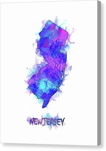 New Jersey Devils Canvas Print - New Jersey Map Watercolor 2 by Bekim Art