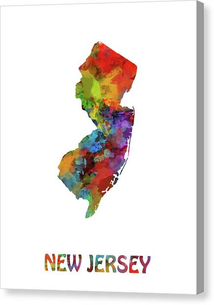 New Jersey Devils Canvas Print - New Jersey Map Watercolor by Bekim Art
