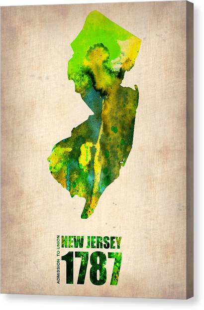 Jerseys Canvas Print - New Jersey Watercolor Map by Naxart Studio