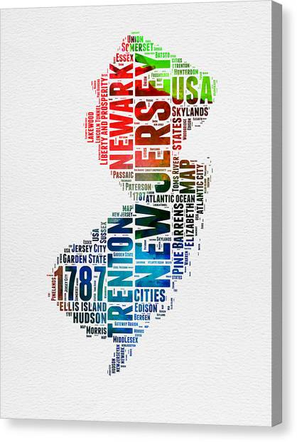 Jerseys Canvas Print - New Jersey Watercolor Word Cloud  by Naxart Studio