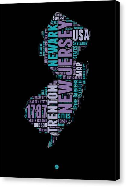 America Map Canvas Print - New Jersey Word Cloud 1 by Naxart Studio