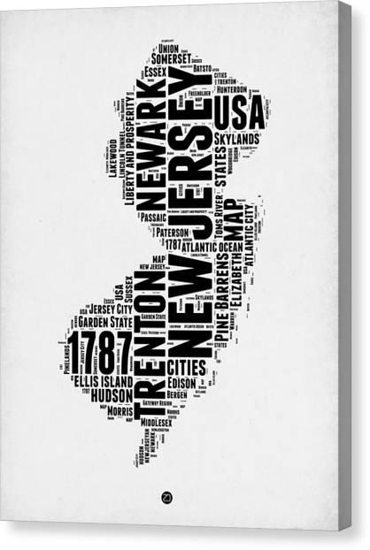 America Map Canvas Print - New Jersey Word Cloud 2 by Naxart Studio