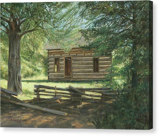 Log Cabin Canvas Print - New Log Cabin by Don  Langeneckert