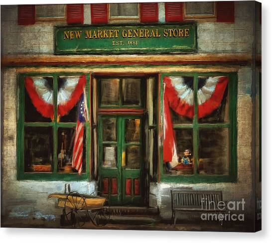 Wheel Barrows Canvas Print - New Market General Store by Lois Bryan