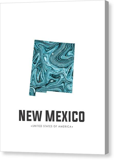 New Mexico Map Canvas Print - New Mexico Map Art Abstract In Blue by Studio Grafiikka