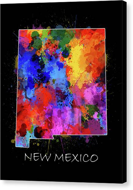 New Mexico Map Canvas Print - New Mexico Map Color Splatter 2 by Bekim Art